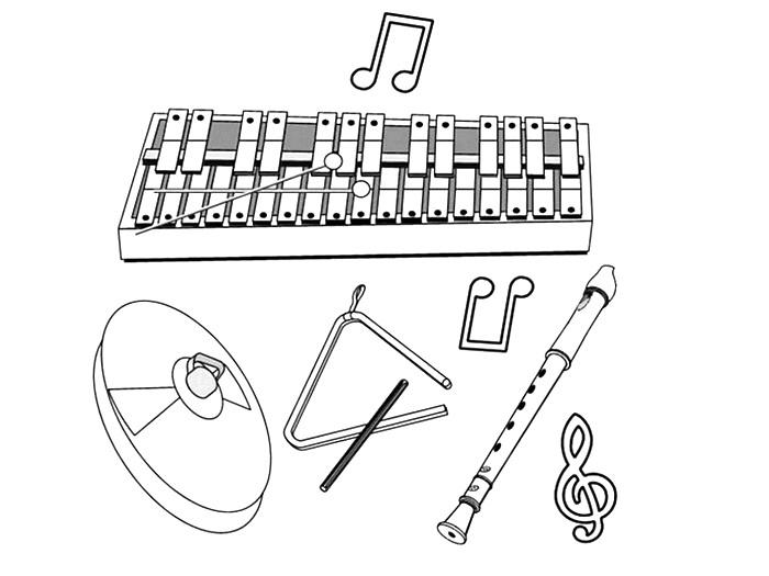 hudební nástroje obrázky k vytisknutí