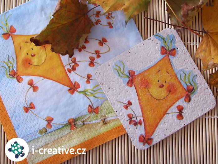 podzimní decoupage na korkové podtácky