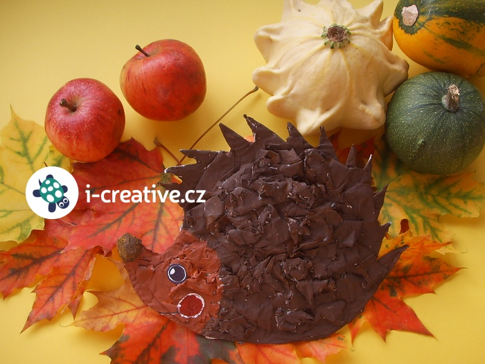 podzimní tvoření ježek kašírování