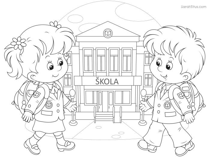 děti před školou omalovánka