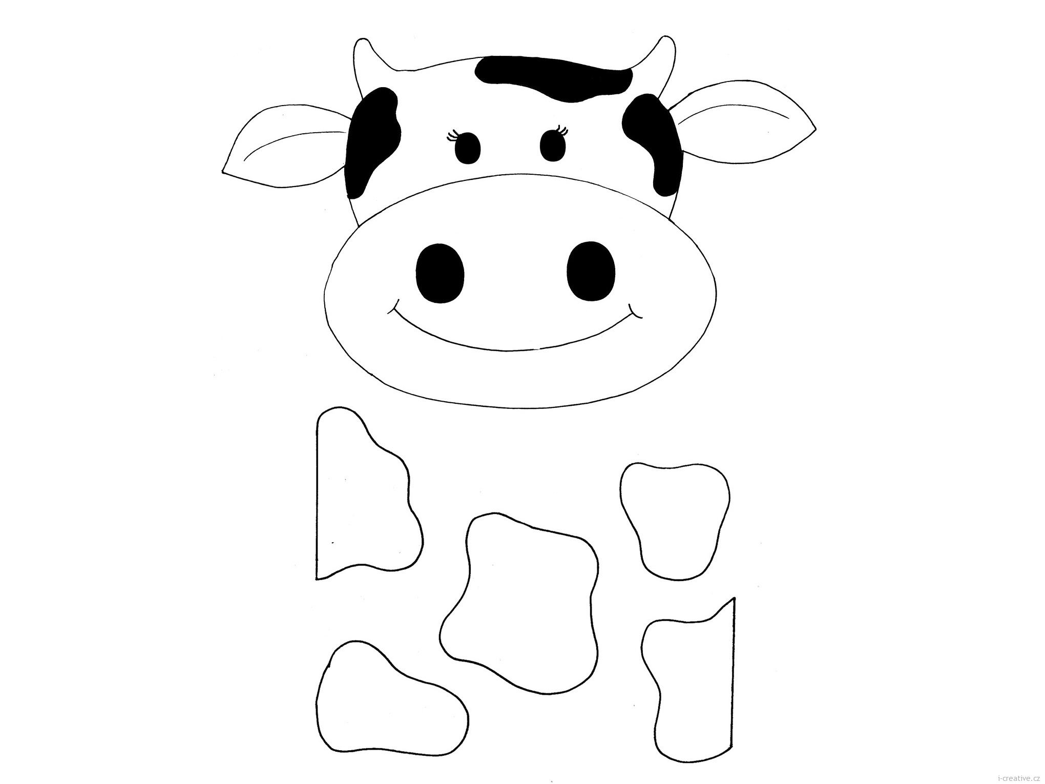 Easy Cow Head Coloring Coloring Pages