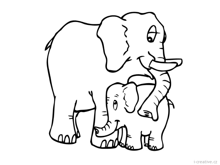 Mother and baby elephant clipart