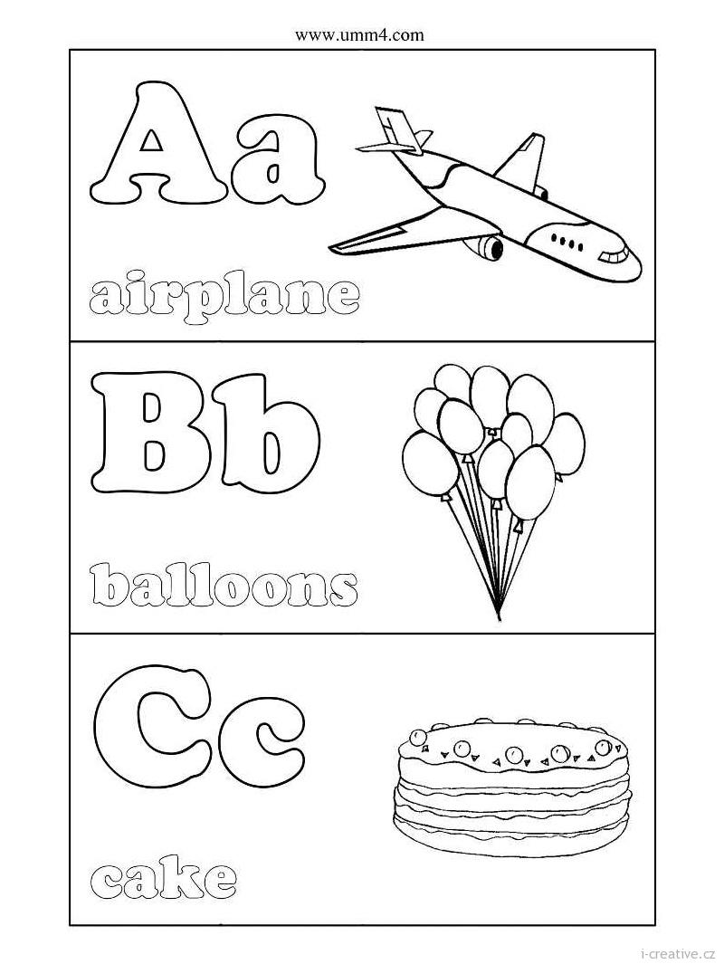 Английский алфавит раскраски с картинками