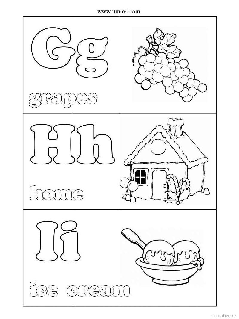 Английский алфавит раскраски для детей распечатать