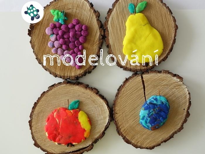výtvarka v září - modelování ovoce na opravdové dřevo