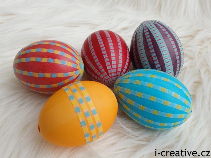 vajíčka zdobená washi páskami