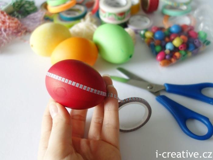 zdobení vajíčka washi páskou