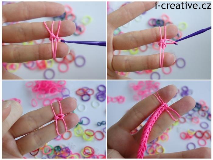 návod na pletení náramků z gumiček na prstech