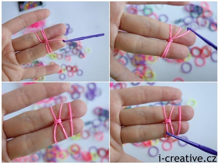 pletení z gumiček na prstech