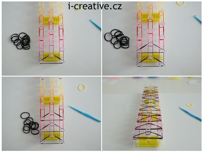 tripple single náramek z gumiček - návod 4