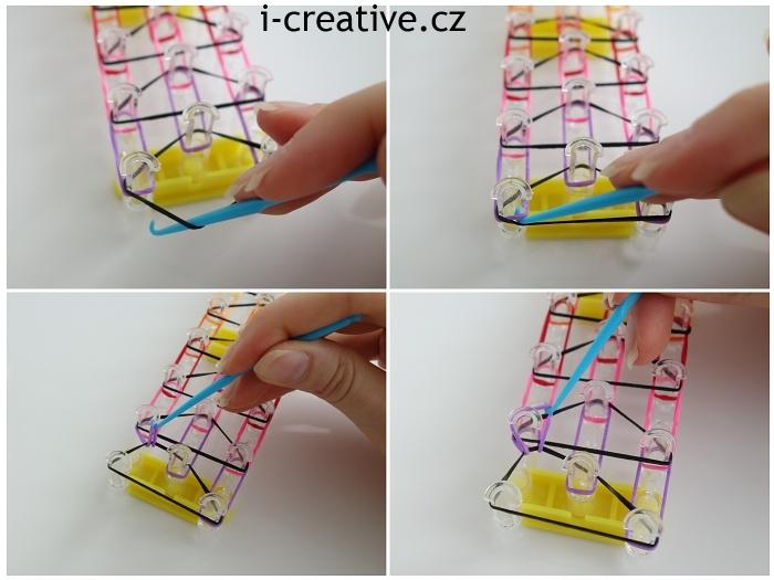 tripple single náramek z gumiček - návod 5