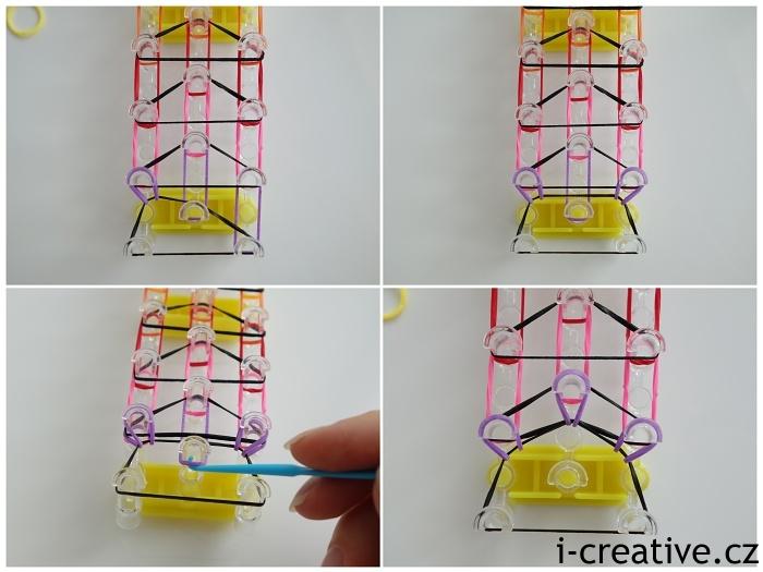 tripple single náramek z gumiček - návod 6