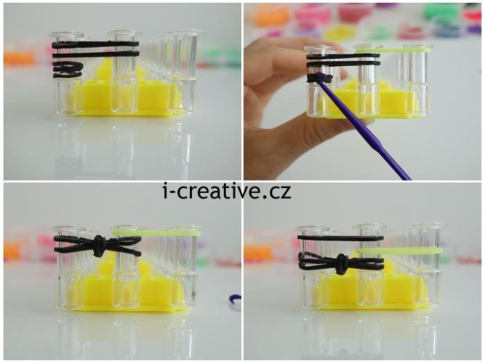 fotonávod na pletení náramku z gumiček na stavu
