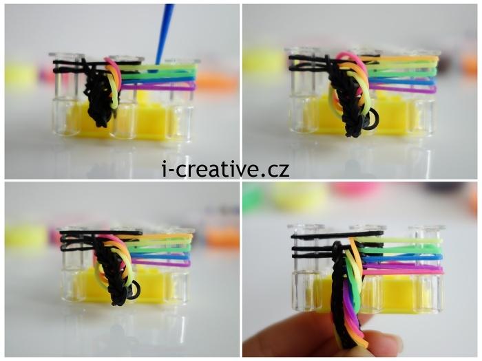návod na pletení náramků z gumiček na stavu