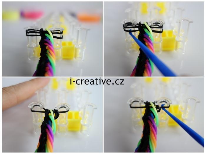 fotonávod na pletení náramků z gumiček na stavu