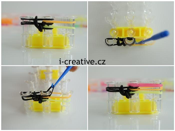 fotonávod krok za krokem na pletení náramku z gumiček na stavu
