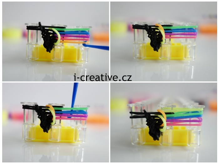 návod na pletení náramku z gumiček na stavu