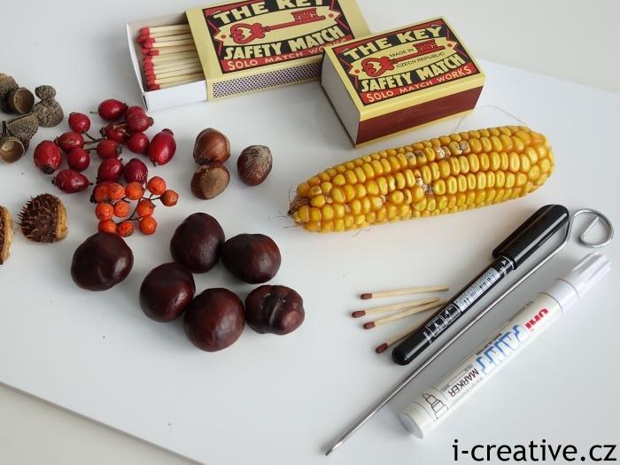 tvoření z kaštanů, kukuřice a dalších přírodnin