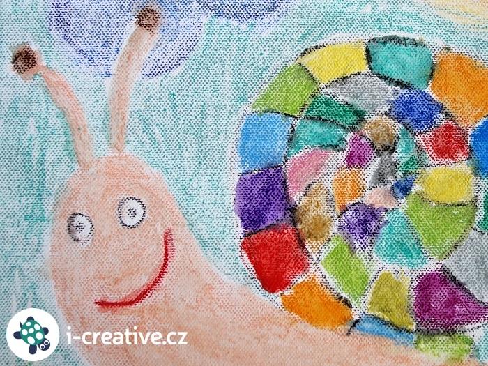 šnek - obrázek na plátně