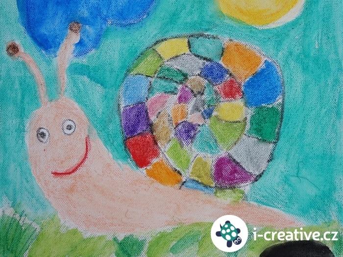 kreslení akvarelovými pastelkami na plátno