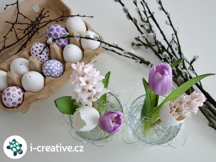 jarní a velikonoční dekorace z řezaných květin