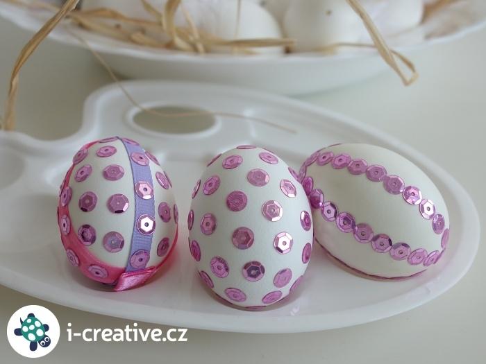 velikonoční vajíčka s flitry