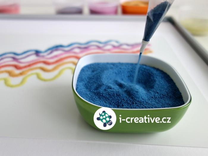 barevné písky - kreslení a malování