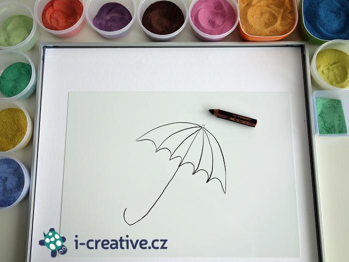 deštník - malování písky