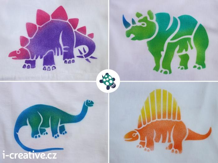 foukací fixy na textil - dinosauři na tričku