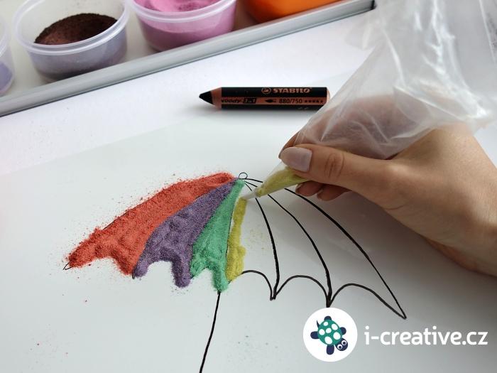 malování pískem a zdobičkou