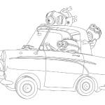 Mimoni v autě omalovánka
