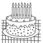 omalovánka narozeninový dort