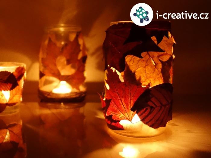 jak vyrobit podzimní lampičku z listů