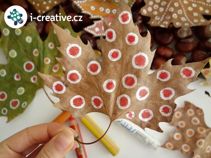 podzimní kreslení na vylisované listy