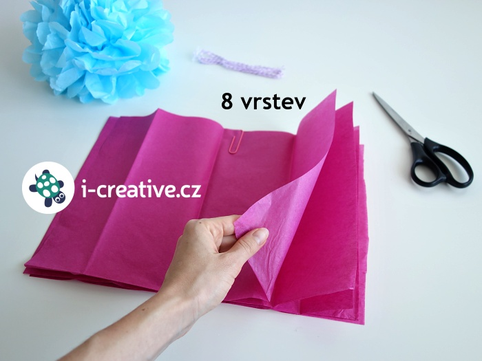 návod na pom pom z hedvábného papíru