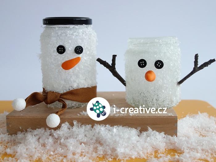 sněhuláci ze zavařovací sklenice - návod