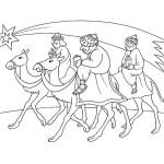 Tři králové na velbloudech omalovánka