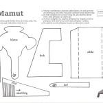vystřihovánka mamut z papíru