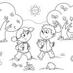 děti na výletě omalovánka