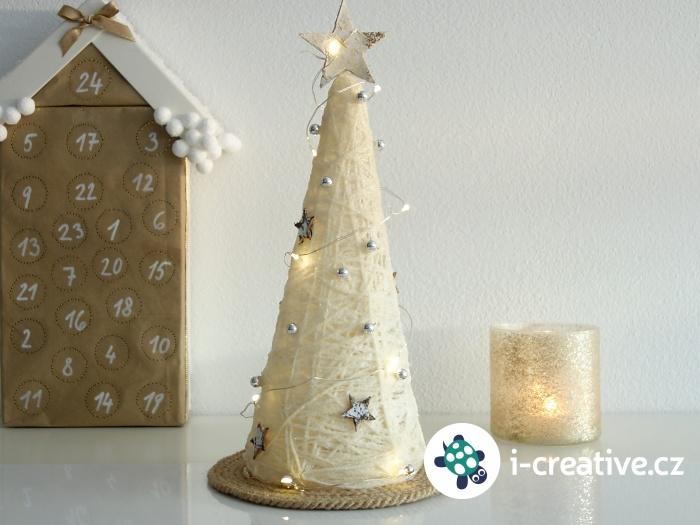 jak vyrobit dekorační vánoční stromeček z bavlnky